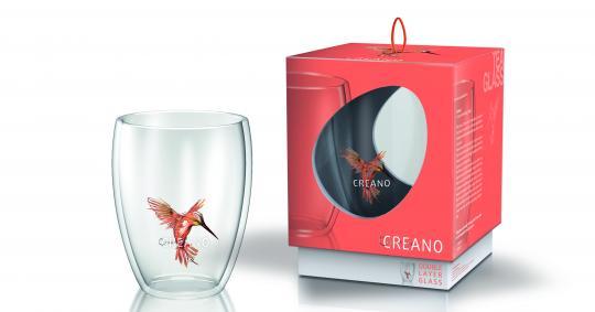 """Creano Thermoglas """"Hummi"""" - orange, doppelwandig, 250ml, in exklusiver Geschenkbox"""