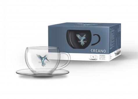 "Creano Thermo-Tasse 250ml mit Untertasse ""Hummi"" blau"