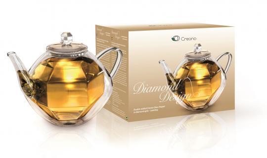 Creano Doppelwandige Glas-Teekanne Diamonddesign 800ml, isolierend