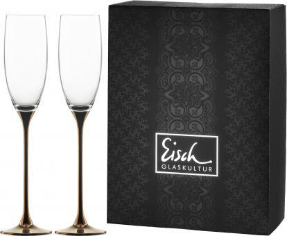 Set 2 Champagnerkelche Sekt 180ml/H.275mm 500/92 kupfer -im Geschenkkarton- CHAMPAGNER EXKLUSIV Eisch Glas +