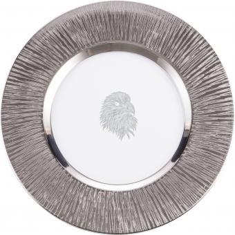 Teller flach 35cm 516/35 SILAS PLATIN  Eisch Glas**1