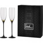 Set 2 Sektkelche 180ml 500/78 gold/schwarz -im Geschenkkarton- CHAMPAGNER EXKLUSIV Eisch Glas
