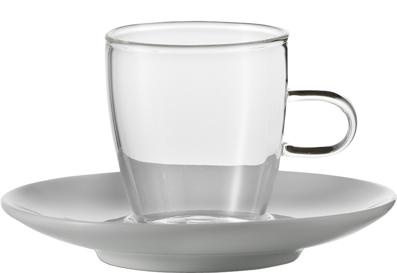 set 2 espressotassen mit untertassen coffee jenaer glas. Black Bedroom Furniture Sets. Home Design Ideas